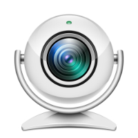 Realistic web camera icon on white background-200px